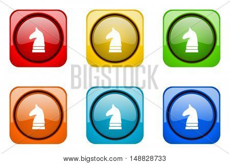 chess horse colorful web icons
