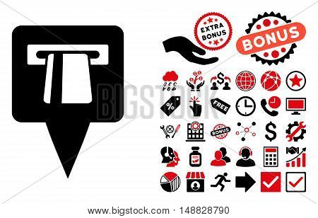 ATM Pointer pictograph with bonus design elements. Vector illustration style is flat iconic bicolor symbols, intensive red and black colors, white background.
