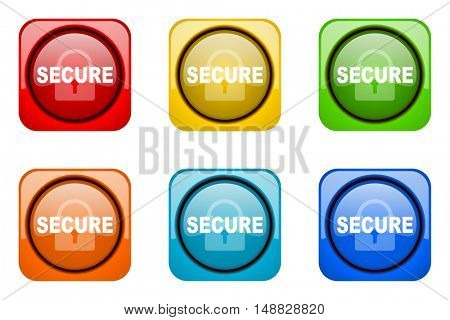 secure colorful web icons