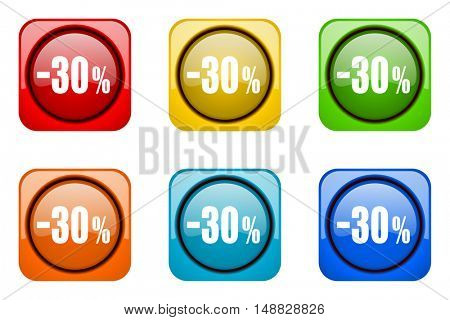 30 percent sale retail colorful web icons