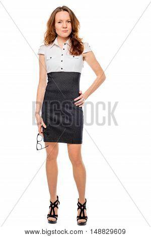 Portrait Of Slender Beautiful Businesswoman In Full Length On White