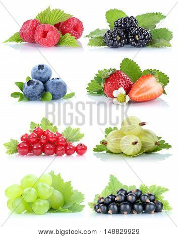 Collection Of Berries Fruits Grapes Strawberries Blueberries Red Currant Berry