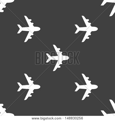 Plane Icon Sign. Seamless Pattern On A Gray Background. Vector