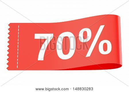 70% discount clothing tag 3D rendering isolated on white background