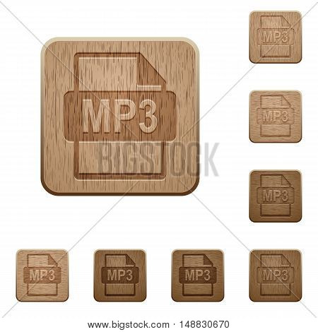 Set of carved wooden MP3 file format buttons in 8 variations.