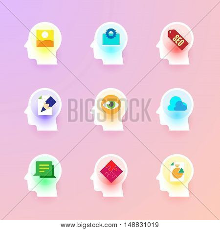 Modern vector flat icons collection of photo gallery, web development, seo, copywriting, visual identity, data cloud, customer testimonial, solution, graph on human head brain.