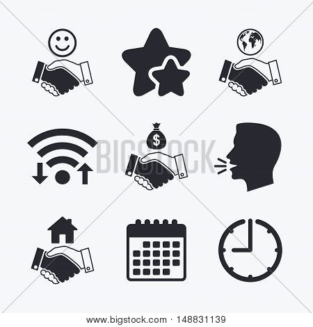 Handshake icons. World, Smile happy face and house building symbol. Dollar cash money bag. Amicable agreement. Wifi internet, favorite stars, calendar and clock. Talking head. Vector