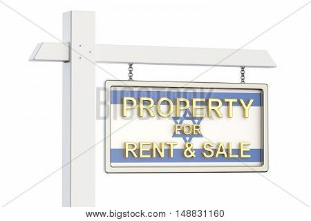 Property for sale and rent in Israel concept. Real Estate Sign 3D rendering