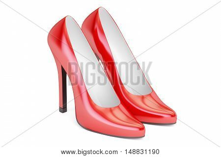 red high heel shoes 3D rendering isolated on white background