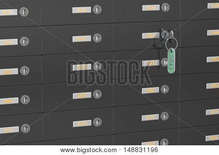 many steel safe deposit boxes 3D rendering