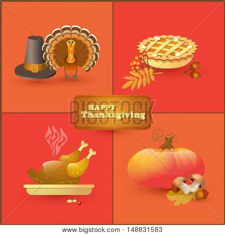 Vector set of colorful cartoon elements for Thanksgiving day.   Collection with autumn and thanksgiving food and symbols isolated on white background. Includes pumpkin, leaf, rowan, acorn, mushroom, pilgrim hat, pie, roast turkey.