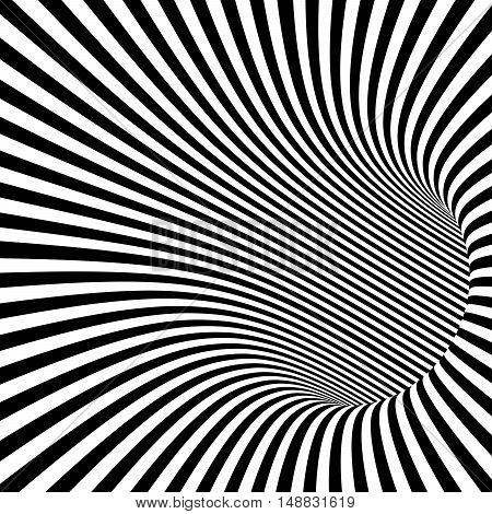 Black and White Striped Abstract Tunnel. Vector Illustration