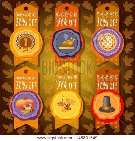 Vector set of sale tags in orange color. Includes turkey, pumpkin, leaf, rowan, pilgrim hat, pie, roast turkey. Thanksgiving sale offer design template. 6  price stickers with thanksgiving emblem.