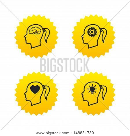 Head with brain and idea lamp bulb icons. Female woman think symbols. Cogwheel gears signs. Love heart. Yellow stars labels with flat icons. Vector