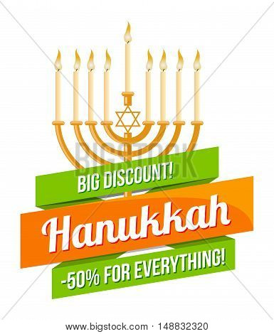 Hanukkah sale or discount design for emblem, sticker or logo with menorah with burning candles isolated