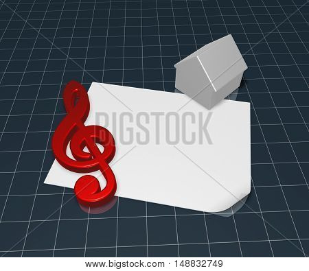 clef symbol and house symbol on blank white paper sheet - 3d rendering