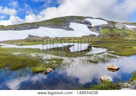 Landscape Around The  Vikafjellsvegen National Tourist Route To Vik, Norway