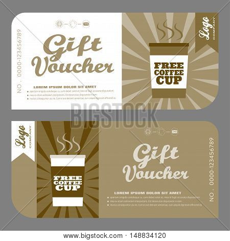 Blank of vector gift voucher to increase sales of coffee in bars and mobile coffeecars.