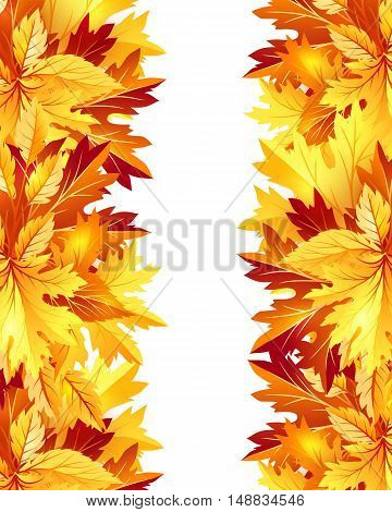 Autumn background with fall maple tree leaves. Vertical vector invitation banners with season foliage decorations and copy space