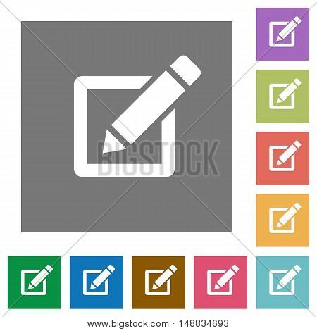 Editor flat icon set on color square background.