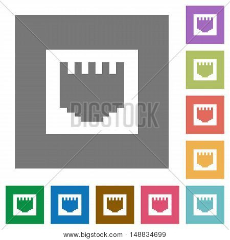 Ethernet connector flat icon set on color square background.