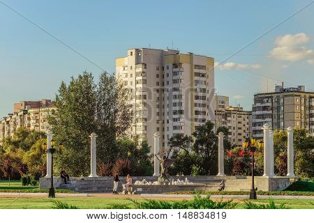 BELGOROD RUSSIA - September 10 2016: Belgorod State University. Architectural composition of the fountain