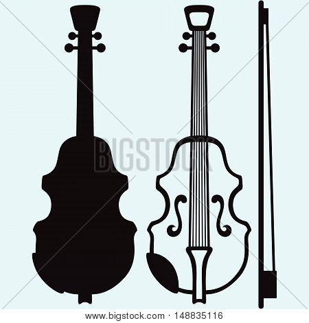 Violin Musical string instrument. Isolated on blue background