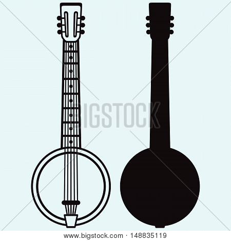 Silhouette of Banjo Musical string instrument. Isolated on blue background