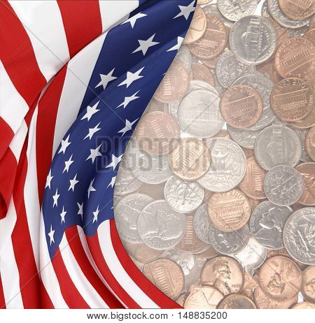 American flag and assorted coins