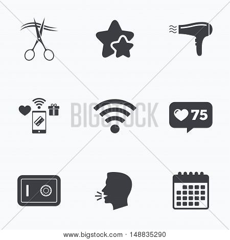 Hotel services icons. Wi-fi, Hairdryer and deposit lock in room signs. Wireless Network. Hairdresser or barbershop symbol. Flat talking head, calendar icons. Stars, like counter icons. Vector