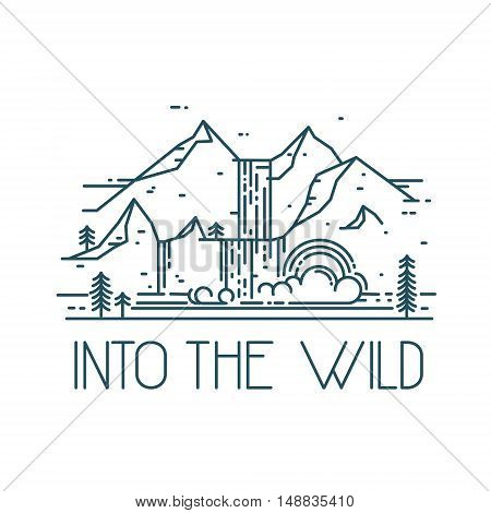 Into the wild. Vector line mountain landscape with waterfall. Rainbow in waterfall. Linear illustration isolated on white