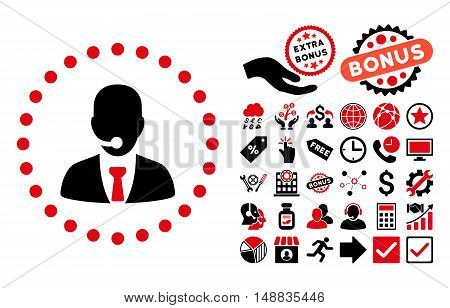 Call Center Operator pictograph with bonus pictures. Vector illustration style is flat iconic bicolor symbols intensive red and black colors white background.