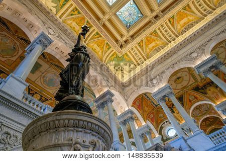 WASHINGTON D.C.,USA - AUGUST 12,2016 : Interior of the Library of Congress in Washington D.C.