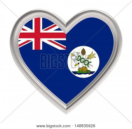 Vancouver Island flag in silver heart isolated on white background. 3D illustration.