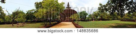 The panorama of Rankoth Vehera stupa in Polonnaruwa Sri Lanka