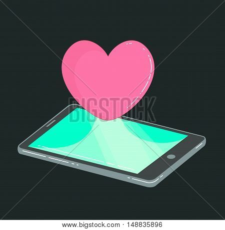 Mobile phone with heart like icon on dark. Vector social media concept. Flat style illustration