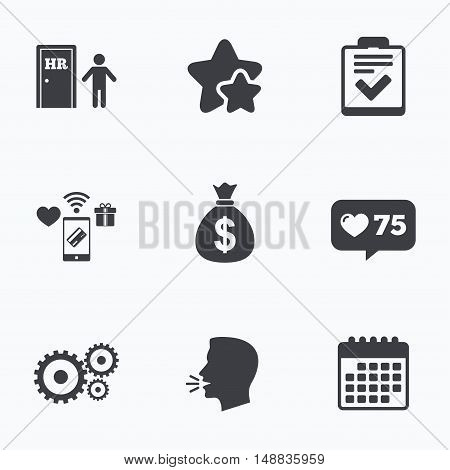 Human resources icons. Checklist document sign. Money bag and gear symbols. Man at the door. Flat talking head, calendar icons. Stars, like counter icons. Vector