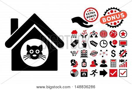 Cat House icon with bonus design elements. Vector illustration style is flat iconic bicolor symbols, intensive red and black colors, white background.