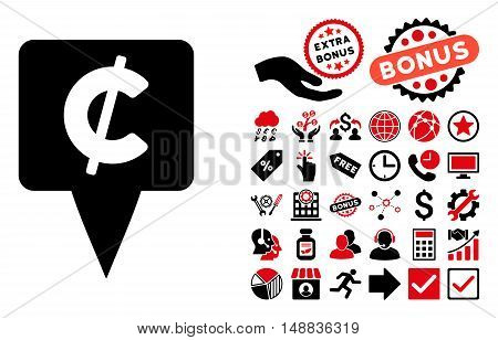 Cent Map Pointer pictograph with bonus icon set. Vector illustration style is flat iconic bicolor symbols, intensive red and black colors, white background.