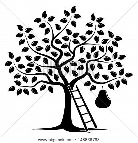 vector pear tree with one big pear and ladder isolated on white background