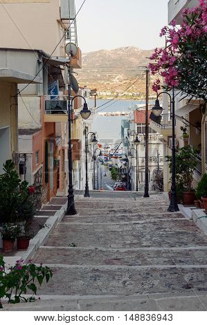 Architecture of Sita town with old houses and stone road on Crete island, Greece