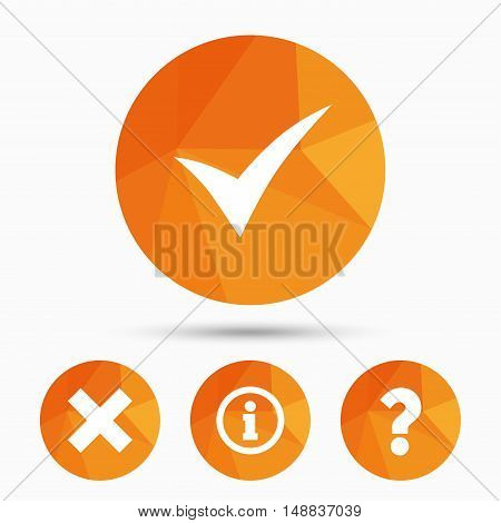 Information icons. Delete and question FAQ mark signs. Approved check mark symbol. Triangular low poly buttons with shadow. Vector