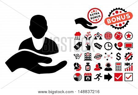 Client Care Hand pictograph with bonus clip art. Vector illustration style is flat iconic bicolor symbols, intensive red and black colors, white background.
