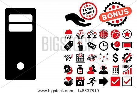 Computer Mainframe pictograph with bonus symbols. Vector illustration style is flat iconic bicolor symbols intensive red and black colors white background.