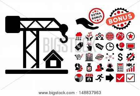 Construction Crane icon with bonus pictograph collection. Vector illustration style is flat iconic bicolor symbols intensive red and black colors white background.