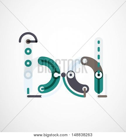 Linear initial letters, logo branding concept, cartoon funny style