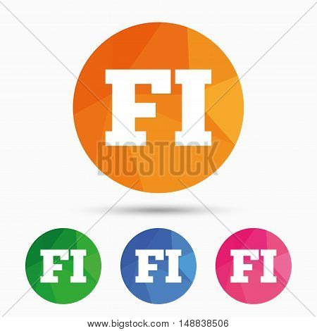 Finnish language sign icon. FI Finland translation symbol. Triangular low poly button with flat icon. Vector