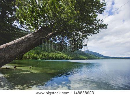 Multinskiye lake Altai mountains landscape. Russian nature
