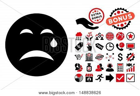 Cry icon with bonus icon set. Vector illustration style is flat iconic bicolor symbols, intensive red and black colors, white background.