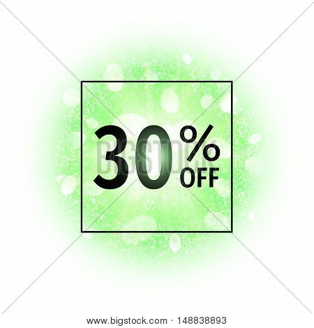 Sale banner 30 percents off on abstract explosion background with green glittering elements. Burst of glowing star. Dust firework light effect. Sparkles splash powder background. Vector illustration